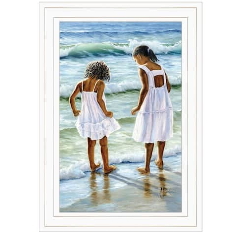 """Two Girls at the Beach"" By Georgia Janisse, Ready to Hang Framed Print, White Frame"