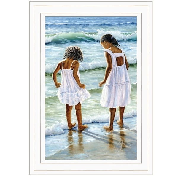"""""""Two Girls at the Beach"""" By Georgia Janisse, Ready to Hang Framed Print, White Frame. Opens flyout."""