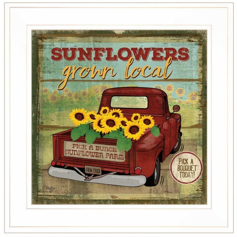 """Sunflowers from the Farm"" By Mollie B, Ready to Hang Framed Print, White Frame"