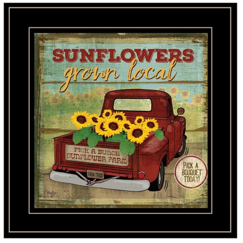 """Sunflowers from the Farm"" By Mollie B, Ready to Hang Framed Print, Black Frame"