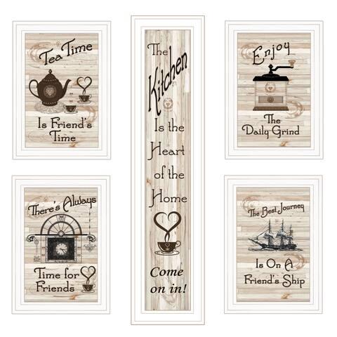 """""""Kitchen Friendship Collection"""" 5-Piece Vignette By Trendy Décor 4U, White Frame"""