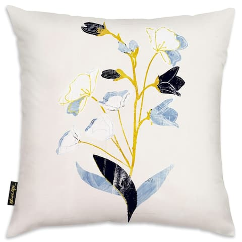 Oliver Gal 'White Flowers with Ochre' Floral and Botanical Decorative Throw Pillow Florals - Blue, Gold
