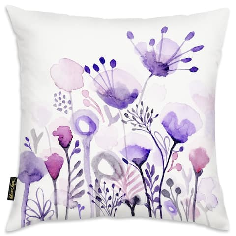 Oliver Gal 'Purple Floral Forest' Floral and Botanical Decorative Throw Pillow Gardens - Purple, White