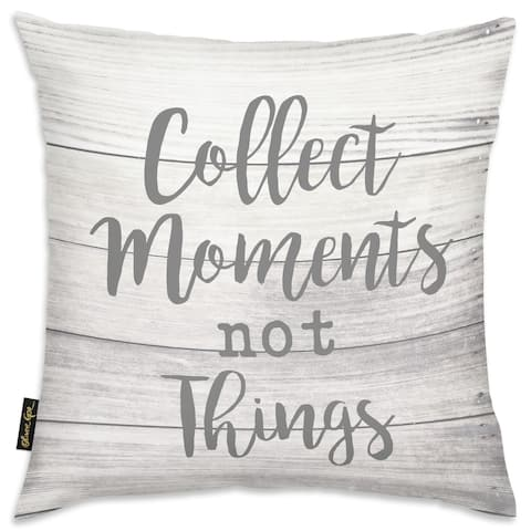 Oliver Gal 'Collect Moments' Typography and Quotes Decorative Throw Pillow Inspirational Quotes and Sayings - Gray, Gray