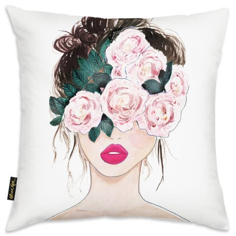 Oliver Gal 'Flower Blind' Floral and Botanical Decorative Throw Pillow Florals - Pink, Pink