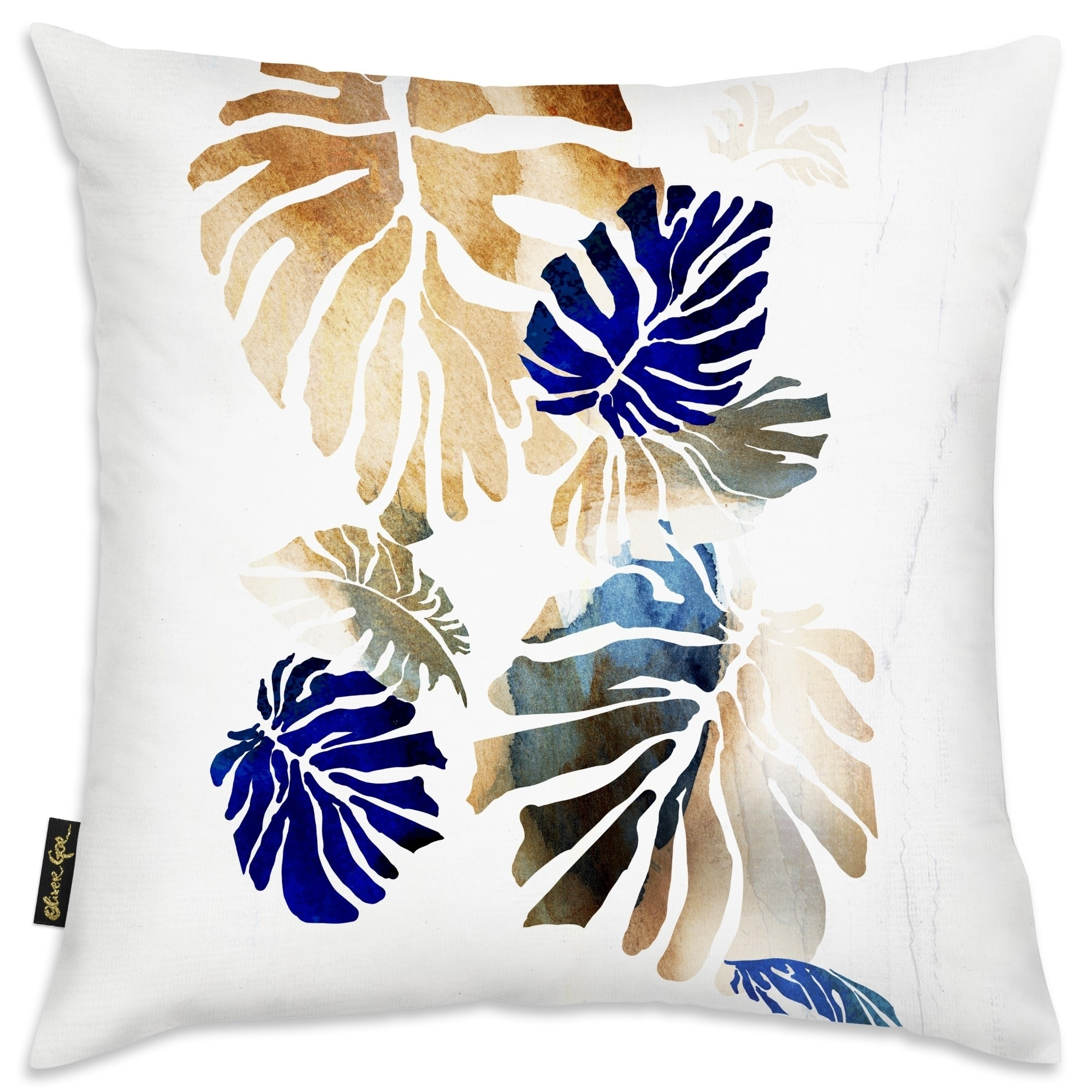 Oliver Gal Jungle Tree Navy Brown Ii Floral And Botanical Decorative Throw Pillow Botanicals Gold Blue Overstock 31047583