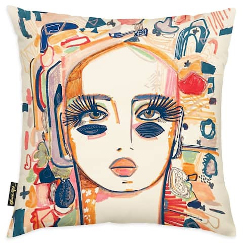 Oliver Gal 'In Love with Morning Coco' People and Portraits Decorative Throw Pillow Portraits - Orange, White