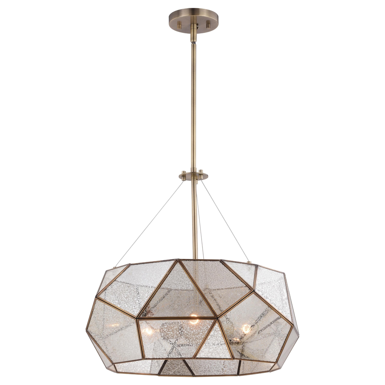 Image of: Shop Black Friday Deals On Euclid Brass Mid Century Modern Pendant Light Mercury Glass Overstock 31047834