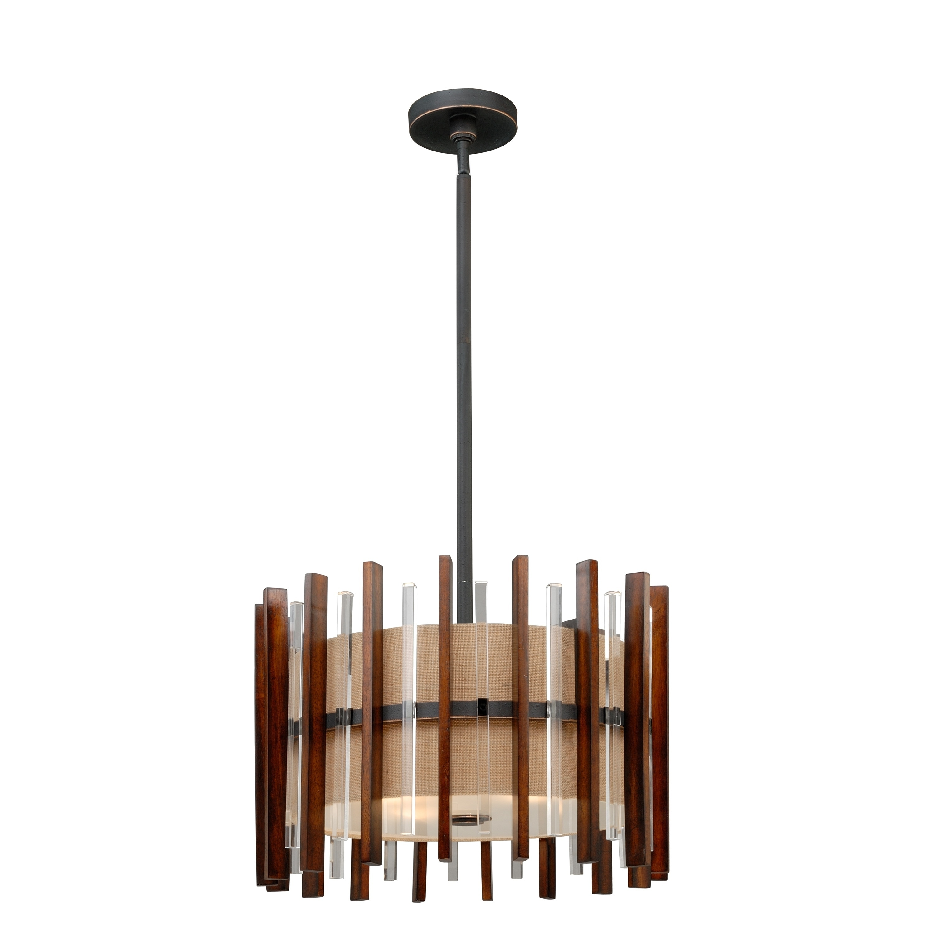 Shop Mosel 4 Light Black Mid Century Modern Wood Crystal Drum Pendant 19 In W X 17 5 In H X 19 In D Overstock 31047849