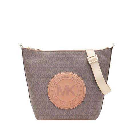 Michael Kors Womens Fulton Large Zip messanger Bucket Bag Brown 35F9GF0M3B