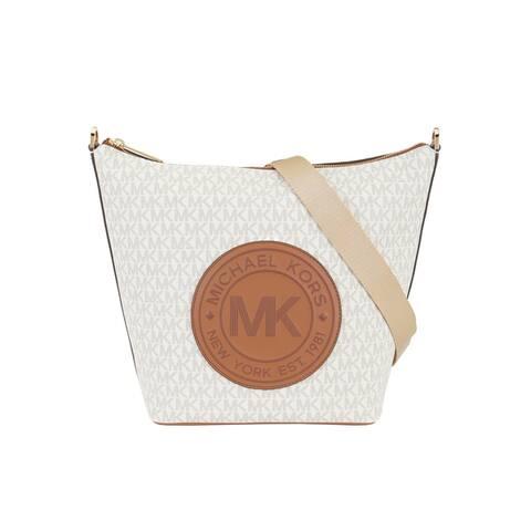 Michael Kors Womens Fulton Large Zip messanger Bucket Bag Vanilla 35F9GF0M3B