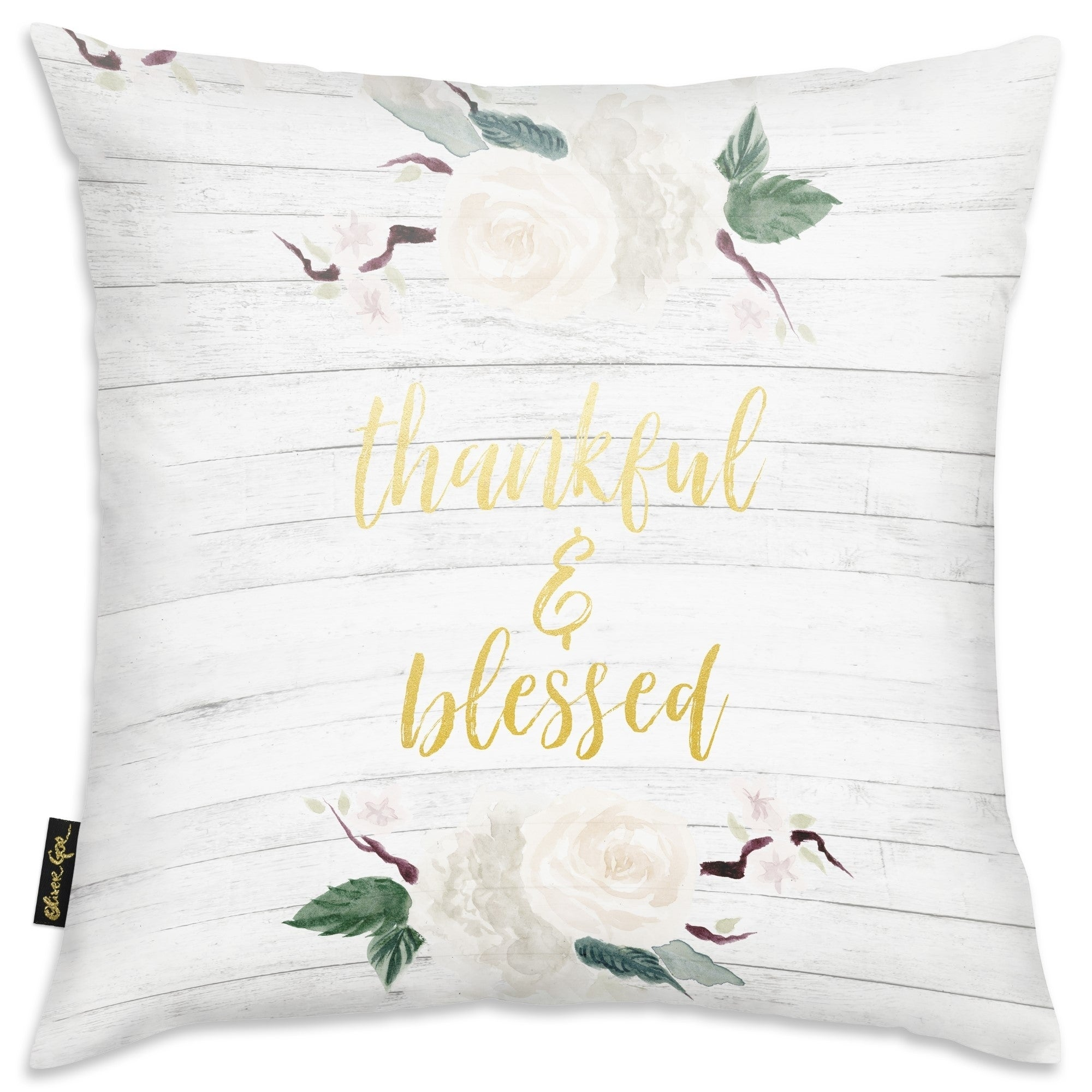 Oliver Gal Thankful And Blessed Square Typography Decorative Throw Pillow Inspirational Quotes And Sayings Gold Gray Overstock 31047883