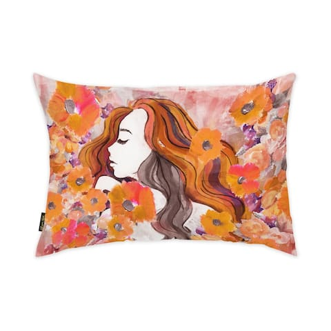Oliver Gal 'Summer Flower' Floral and Botanical Decorative Throw Pillow Florals - Pink, Gray