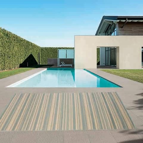 Stripes Indoor/Outdoor Rugs Flatweave Contemporary Patio, Pool, Camp and Picnic Carpets FW 575