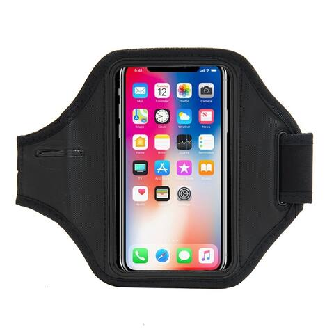 Black Neoprene Phone Armband Holder with Clear Window for iPhone X
