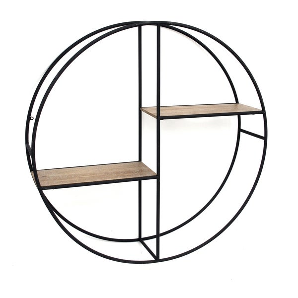 "Metal/Wood 24"" Round Shelf, Black"