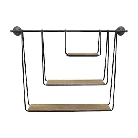 "Metal/Wood 29"" 3-Tier Hanging Wall Shelf, Brown"