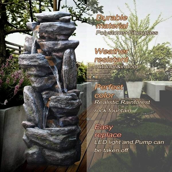 Gf Gardenfans Natural Looking Stone Fountain Outdoor Water Fountain With Led Lights Resin Fountain Decor For Garden Patio Fold Courtyard Deck 13 38 L X 19 49 W X 40 55 H Cool White Home