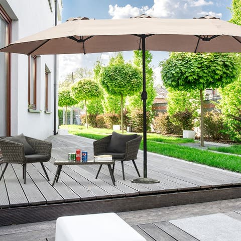 15' Double-Sided Outdoor Offset Patio Umbrella, Base Not Included