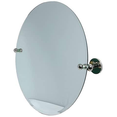Round Beveled-edge Bathroom Tilt Wall Mirror