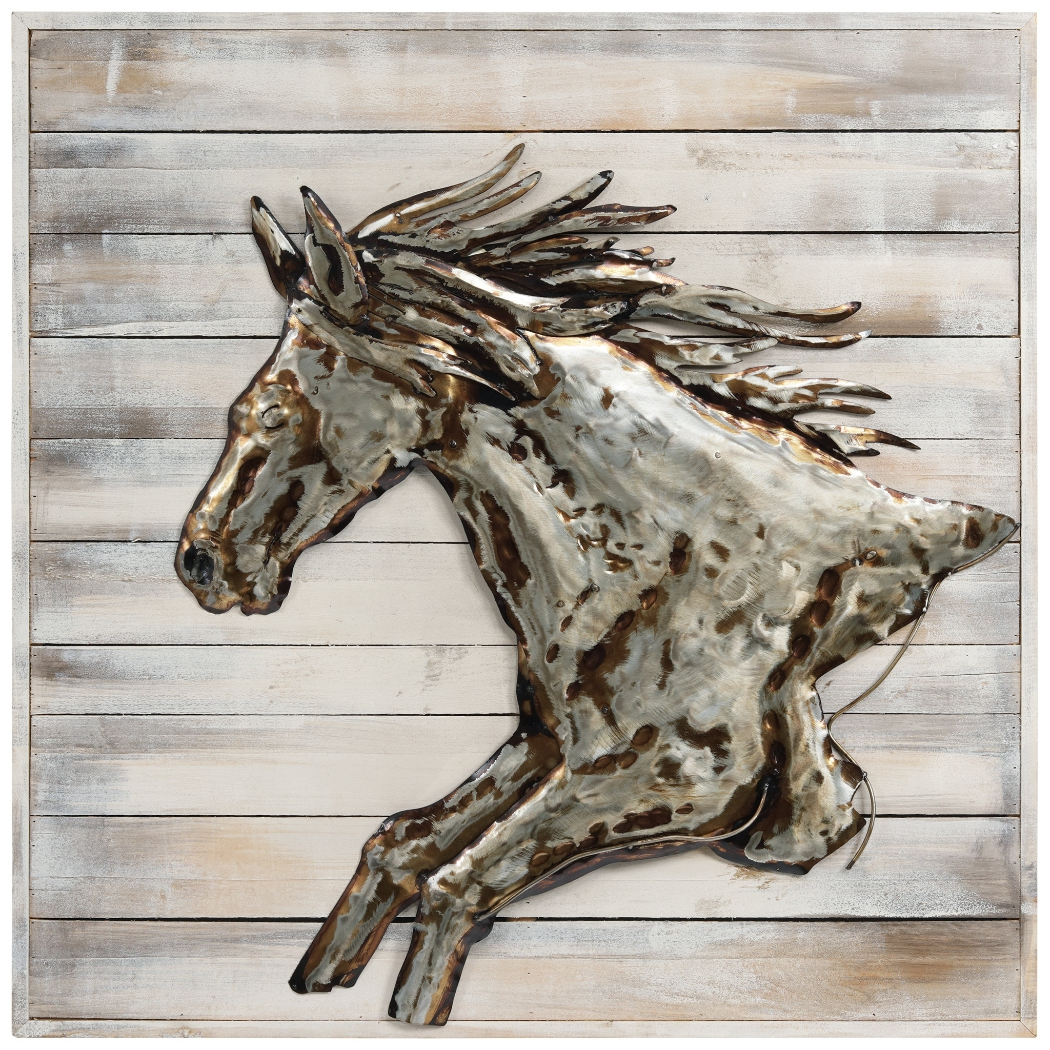 Golden Horse Wall Art Handed Painted Iron Wall Sculpture On Wooden On Sale Overstock 31051184