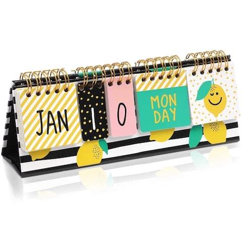 Lemon Desktop Standing Flip Calendar, Self-Standing Standup Daily Scheduler for Office Desk Home School, 8.7 x 3 Inches