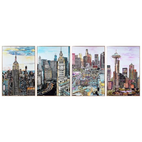 City View Wall Art Under Glass with Anodized Aluminum Rose Gold Frame - Multi-Color