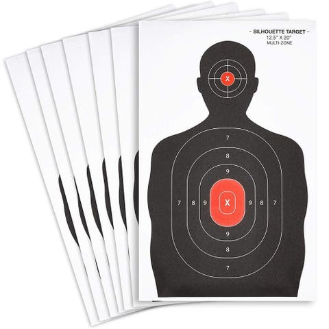 """50x Black & Red Person Hand Gun Rifle Shooting Targets Paper Silhouette 14 x 22"""""""