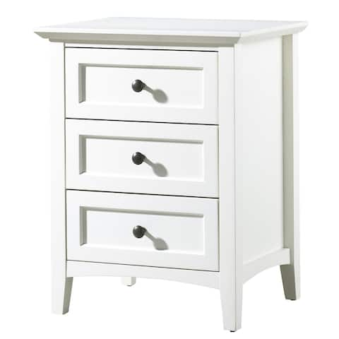 3 Drawer Wooden Nightstand with Tapered Legs and Arched Base, White