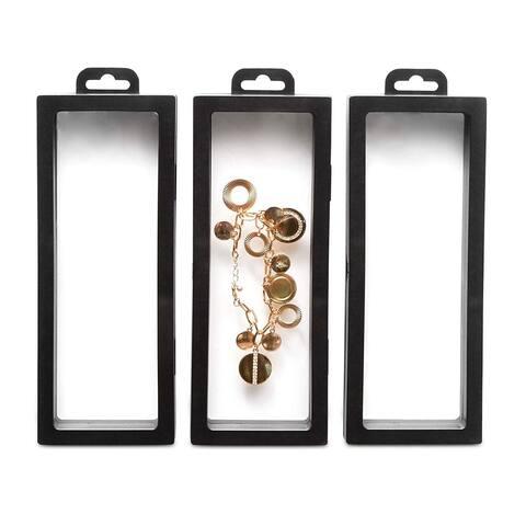 Set of 3 Black Floating Frame Display Holder w/ Hanging Hook for Medallions Coin