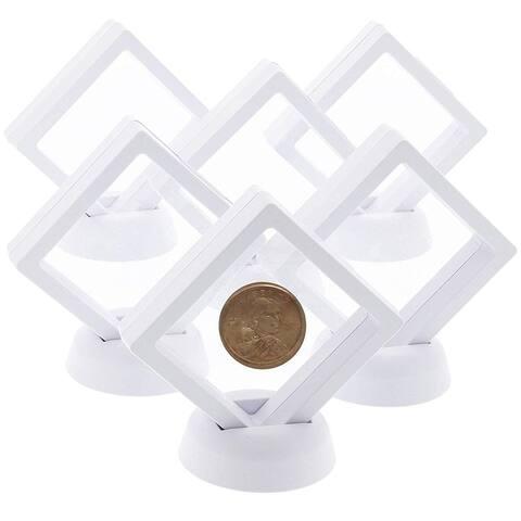 12pcs Mini Floating Frame Display Holder Stand for Medallions Coin Badge White