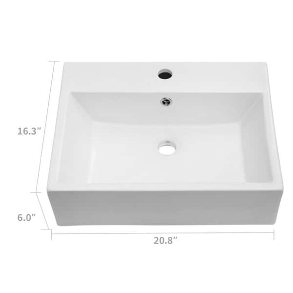 Lordear 20 X16 Bathroom Vessel Sink Modern Rectangle Vessel Vanity Sink Art Basin With Faucet Hole 20 75x16x6 Overstock 31052110
