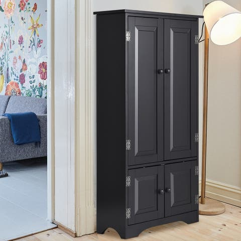Bedroom Accent Storage Cabinet Floor Cabinet Adjustable Shelves Black