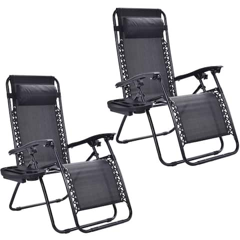 2 Pack Zero Gravity Chair Adjustable Recliner Lounge with Cup Holder