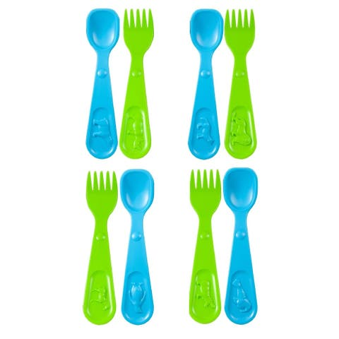 8 Piece Kids Forks and Spoons Set, Toddler Utensils Plastic Silverware with microbeFENCE Technology, African & Polar Theme
