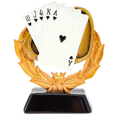 """Poker Playing Cards Trophy Award 4"""" x 1.6"""" x 5"""" for Poker Championships Game"""