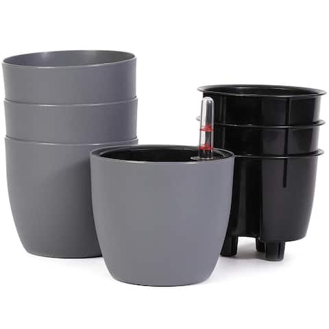 "4 Pack Round Self Watering Pot Planter with Water Level Indicator, 5x4.3"", Gray"