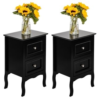 2pcs Country Style Two-Tier Night Table Bedroom Nightstand Black