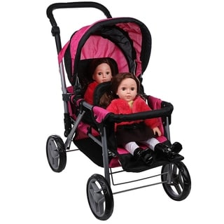 Twin Doll Back to Back Stroller Foldable with Basket Pink Black 9386