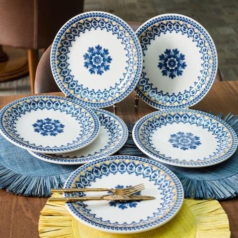 "Manhattan Comfort Floreal 6 Large 10.04"" Dinner Plates"