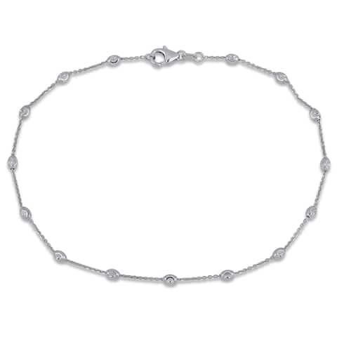 Miadora 18k White Gold Diamond-Cut Ball Station Anklet or Bracelet