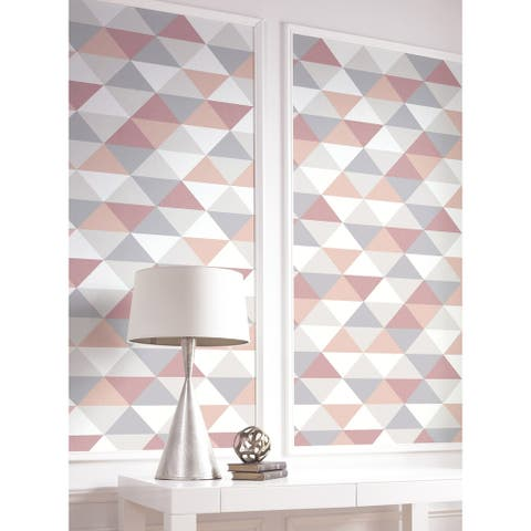 NextWall Mod Triangles Geometric Peel and Stick Removable Wallpaper - 20.5 in. W x 18 ft. L