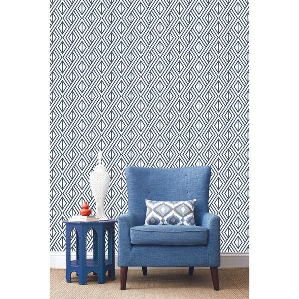 Shop Nextwall Navy Diamond Geometric Peel And Stick Removable Wallpaper 20 5 In W X 18 Ft L Overstock 31053533