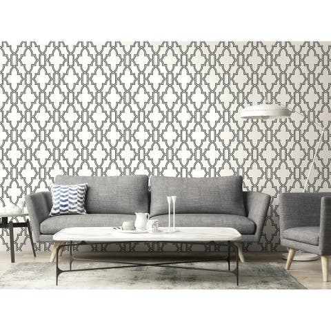NextWall Black and White Tile Trellis Peel and Stick Wallpaper - 20.5 in. W x 18 ft. L
