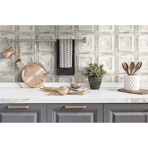 NextWall Distressed Tin Tile Peel and Stick Removable Wallpaper - 20.5 in. W x 18 ft. L