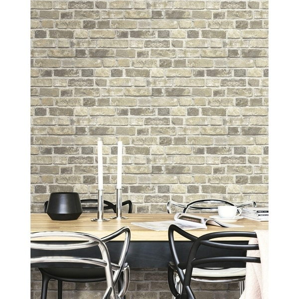 NextWall Distressed Neutral Brick Peel and Stick Removable Wallpaper - 20.5 in. W x 18 ft. L