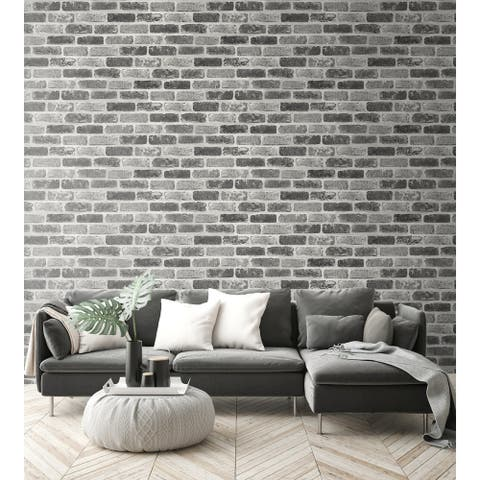 NextWall Grey Washed Brick Peel and Stick Removable Wallpaper - 20.5 in. W x 18 ft. L