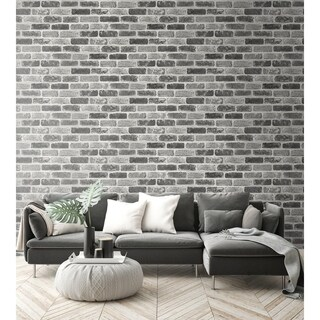 Link to NextWall Grey Washed Brick Peel and Stick Removable Wallpaper - 20.5 in. W x 18 ft. L Similar Items in Wall Coverings