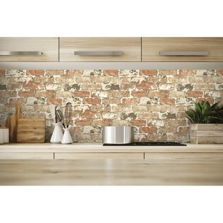 NextWall Weathered Red Brick Peel and Stick Removable Wallpaper - 20.5 in. W x 18 ft. L