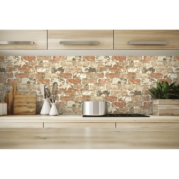 NextWall Weathered Red Brick Peel and Stick Removable Wallpaper - 20.5 in. W x 18 ft. L. Opens flyout.